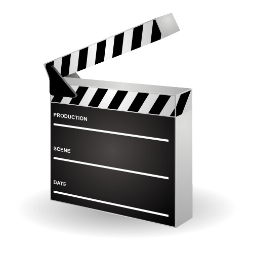 black and white movie clapper with production, scene and date