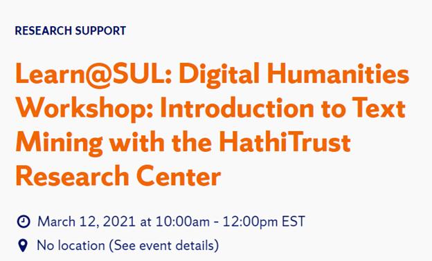 screen shot of Learn at SUL Digital Humanities Workshop