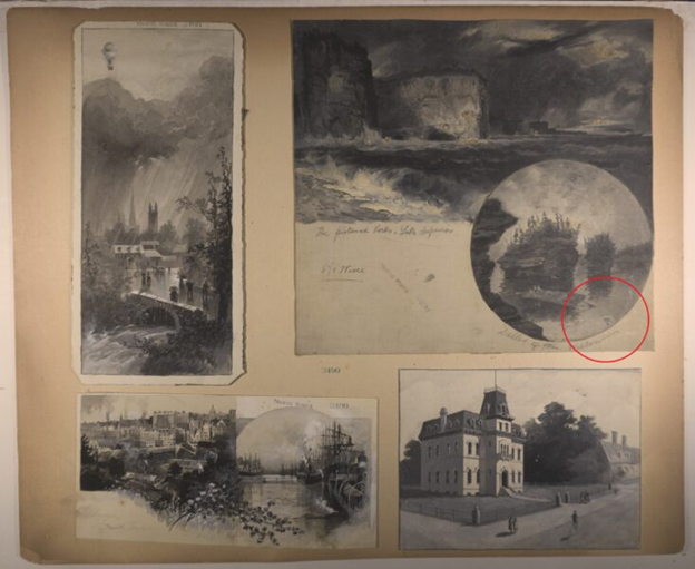yellowed sheet with 4 old black and white photos of buildings on the sheet