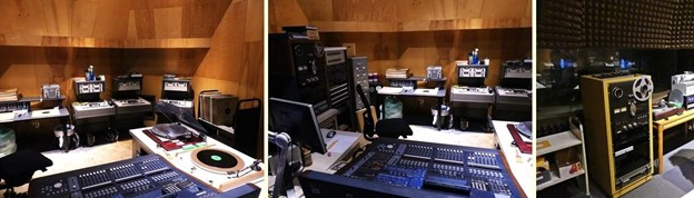 three side by side photos of audio recording equipment inside Belfer