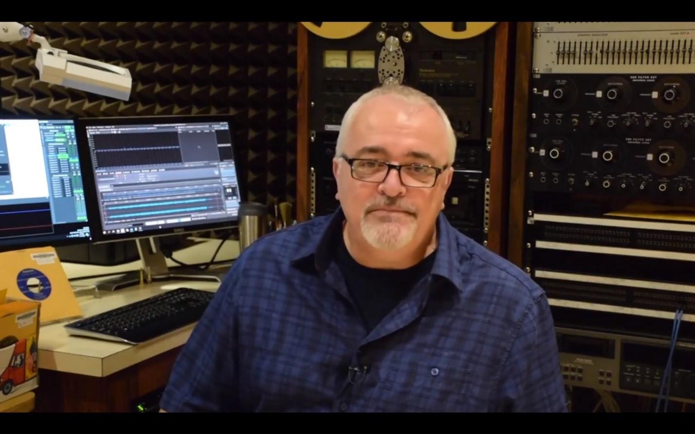Jim Meade sitting in Belfer audio studio