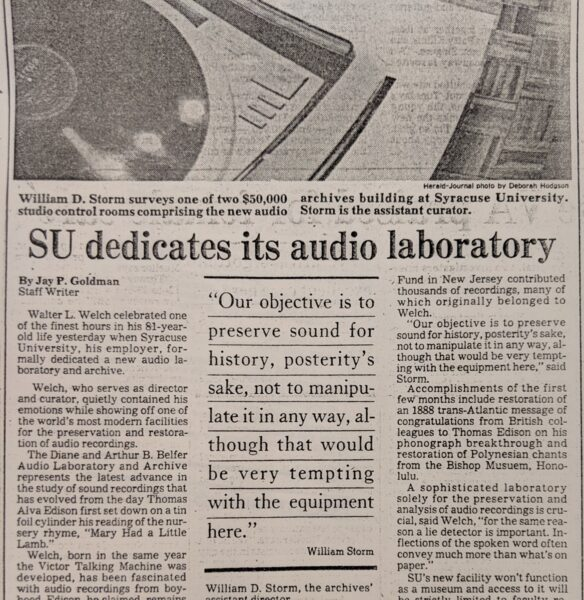 newspaper clipping of article dedicating audio laboratory