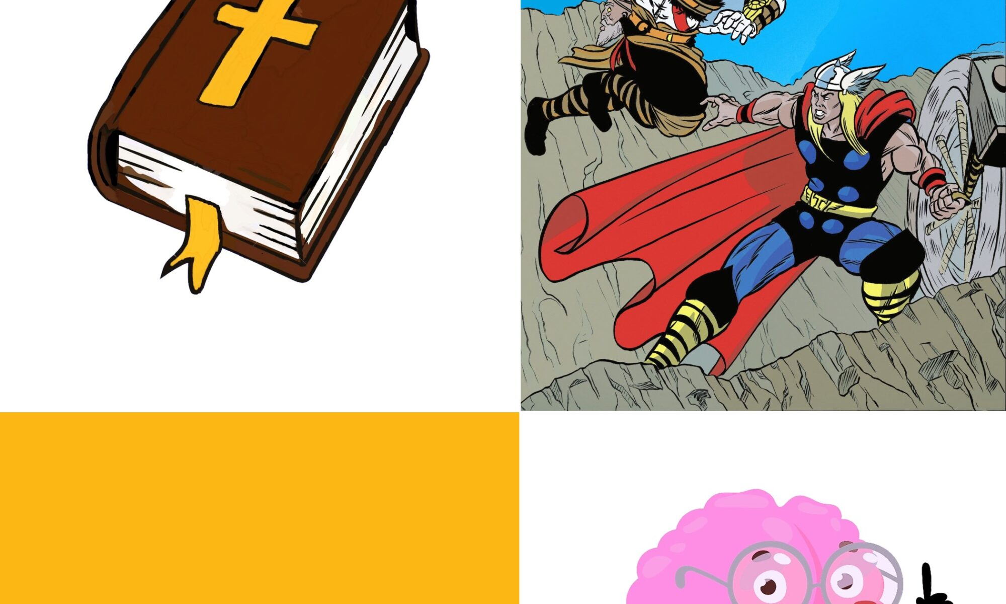 4 squares of cartoon-like drawings: bible in top left corner, fighting superheroes in top right corner, pottery on rocks in bottom left corner, brain wearing glasses in bottom right corner