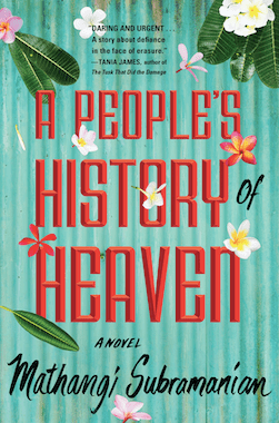 Teal, floral, and red cover of A People's History of Heaven