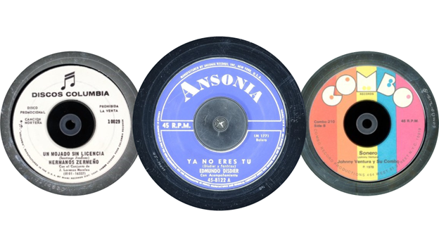 three 45 RPM records side by side