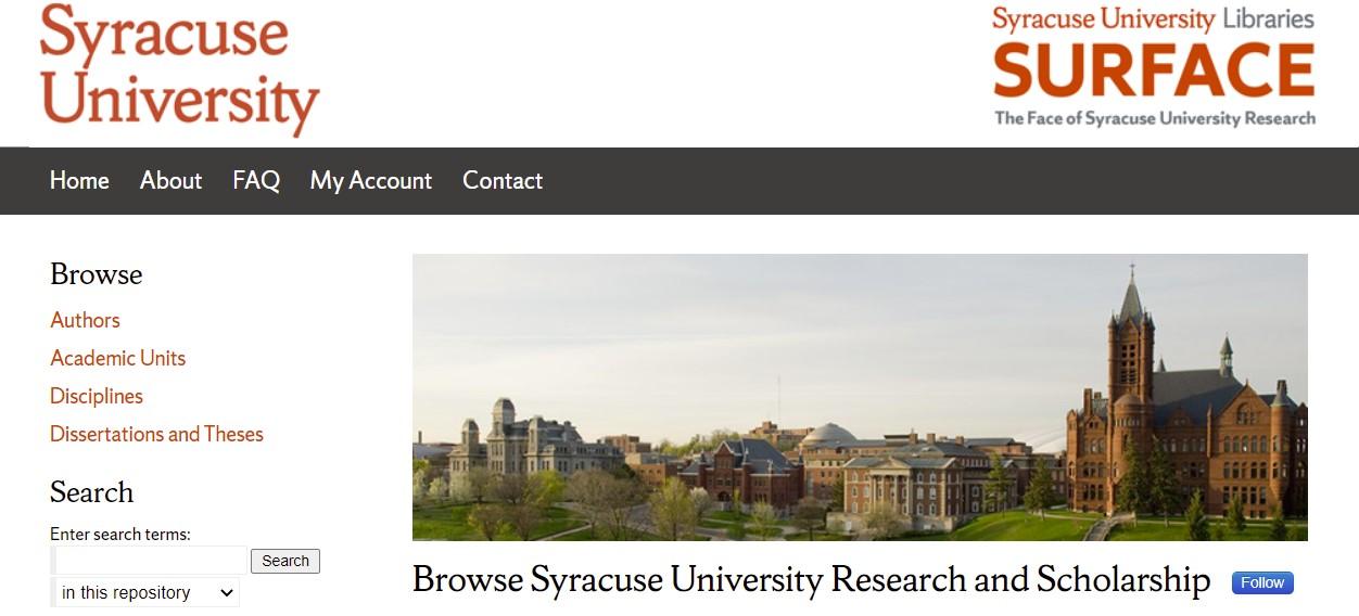 screen shot of surface.syr.edu